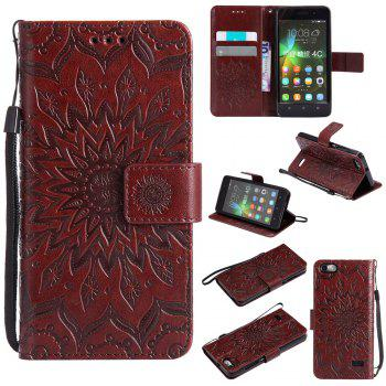 Sun Flower Printing Design Pu Leather Flip Wallet Lanyard Protective Case for Huawei Honor 4C - BROWN BROWN