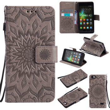 Sun Flower Printing Design Pu Leather Flip Wallet Lanyard Protective Case for Huawei Honor 4C - GRAY GRAY