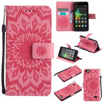 Sun Flower Printing Design Pu Leather Flip Wallet Lanyard Protective Case for Huawei Honor 4C - PINK PINK