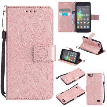 Sun Flower Printing Design Pu Leather Flip Wallet Lanyard Protective Case for Huawei Honor 4C - ROSE GOLD ROSE GOLD