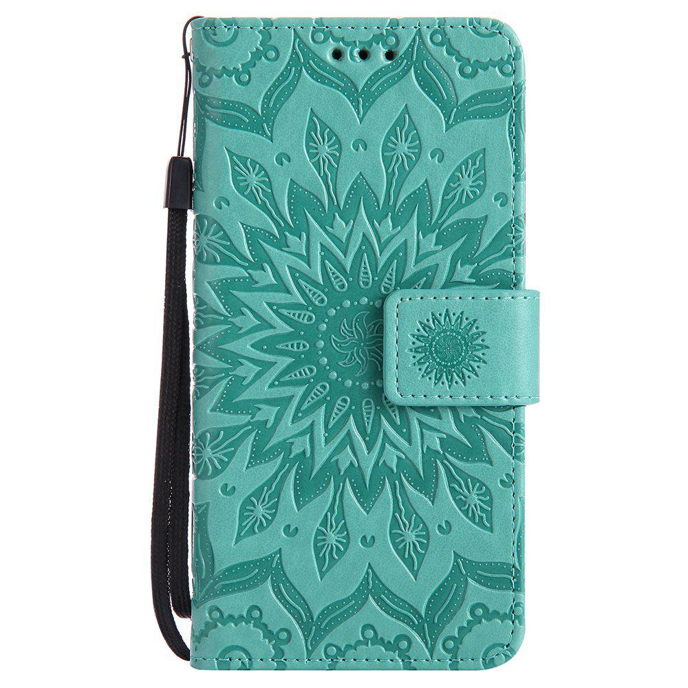 Sun Flower Printing Design Pu Leather Flip Wallet Lanyard Protective Case for Huawei Honor 4C - GREEN
