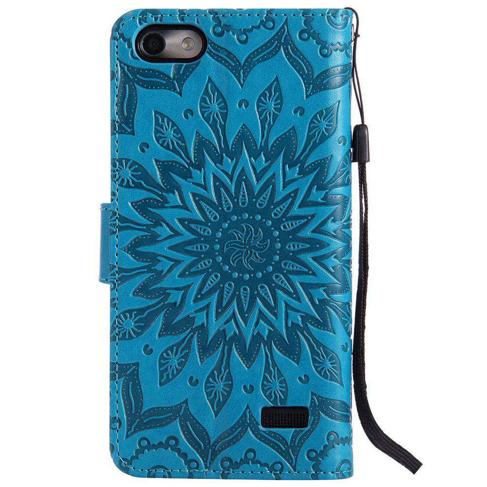 Sun Flower Printing Design Pu Leather Flip Wallet Lanyard Protective Case for Huawei Honor 4C - BLUE
