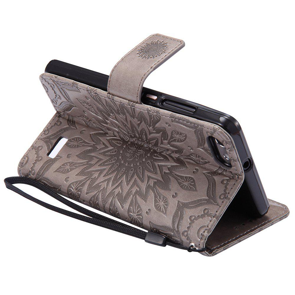 Sun Flower Printing Design Pu Leather Flip Wallet Lanyard Protective Case for Huawei Honor 4C - GRAY
