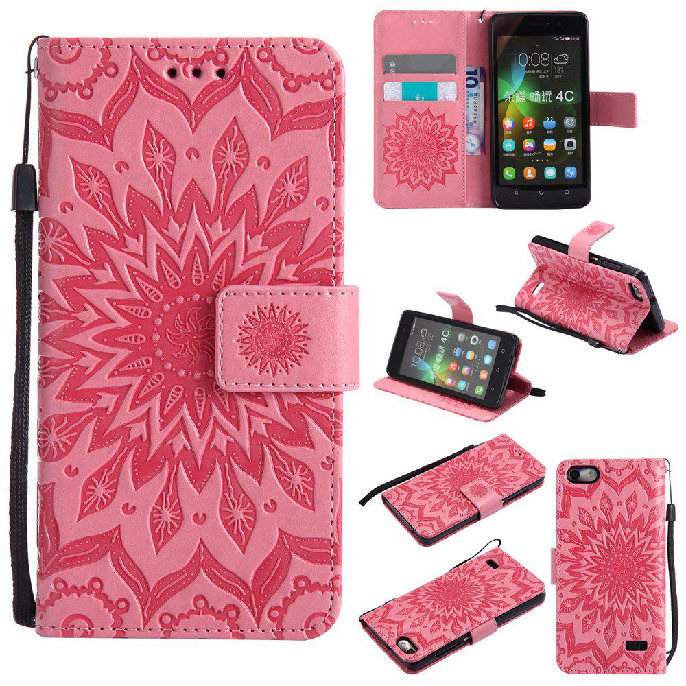 Sun Flower Printing Design Pu Leather Flip Wallet Lanyard Protective Case for Huawei Honor 4C - PINK