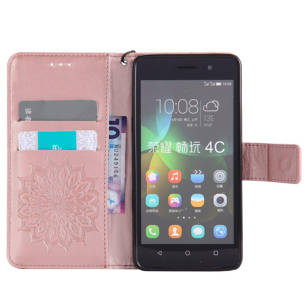 Sun Flower Printing Design Pu Leather Flip Wallet Lanyard Protective Case for Huawei Honor 4C - ROSE GOLD