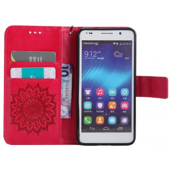 Sun Flower Printing Design Pu Leather Flip Wallet Lanyard Protective Case for Huawei Honor 6 -  RED