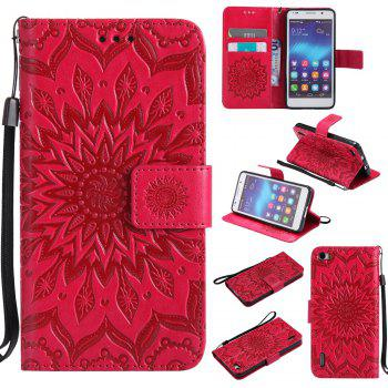 Sun Flower Printing Design Pu Leather Flip Wallet Lanyard Protective Case for Huawei Honor 6 - RED RED