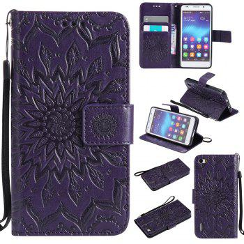Sun Flower Printing Design Pu Leather Flip Wallet Lanyard Protective Case for Huawei Honor 6 - PURPLE PURPLE
