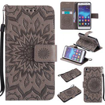 Sun Flower Printing Design Pu Leather Flip Wallet Lanyard Protective Case for Huawei Honor 6 - GRAY GRAY