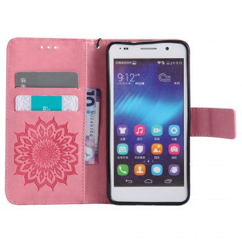 Sun Flower Printing Design Pu Leather Flip Wallet Lanyard Protective Case for Huawei Honor 6 -  PINK