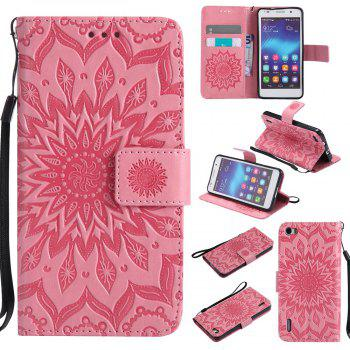 Sun Flower Printing Design Pu Leather Flip Wallet Lanyard Protective Case for Huawei Honor 6 - PINK PINK