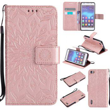 Sun Flower Printing Design Pu Leather Flip Wallet Lanyard Protective Case for Huawei Honor 6 - ROSE GOLD ROSE GOLD