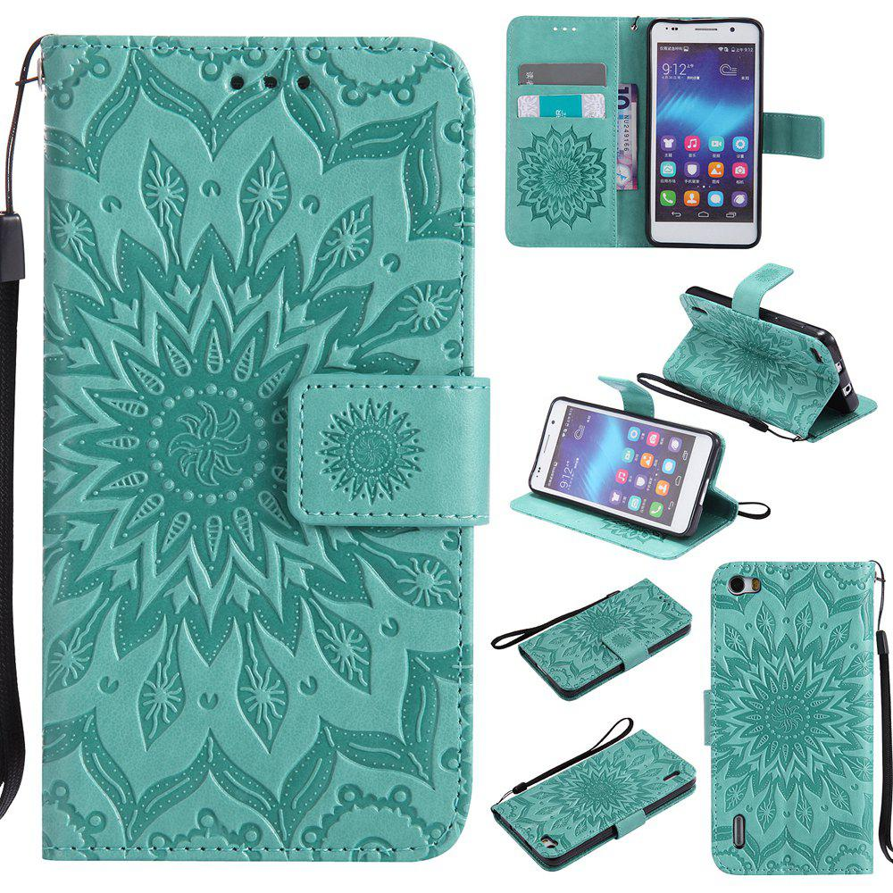 Sun Flower Printing Design Pu Leather Flip Wallet Lanyard Protective Case for Huawei Honor 6 - GREEN