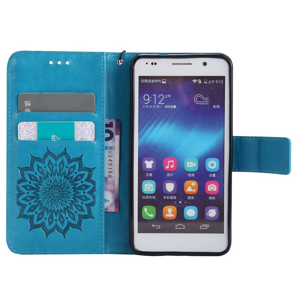 Sun Flower Printing Design Pu Leather Flip Wallet Lanyard Protective Case for Huawei Honor 6 - BLUE