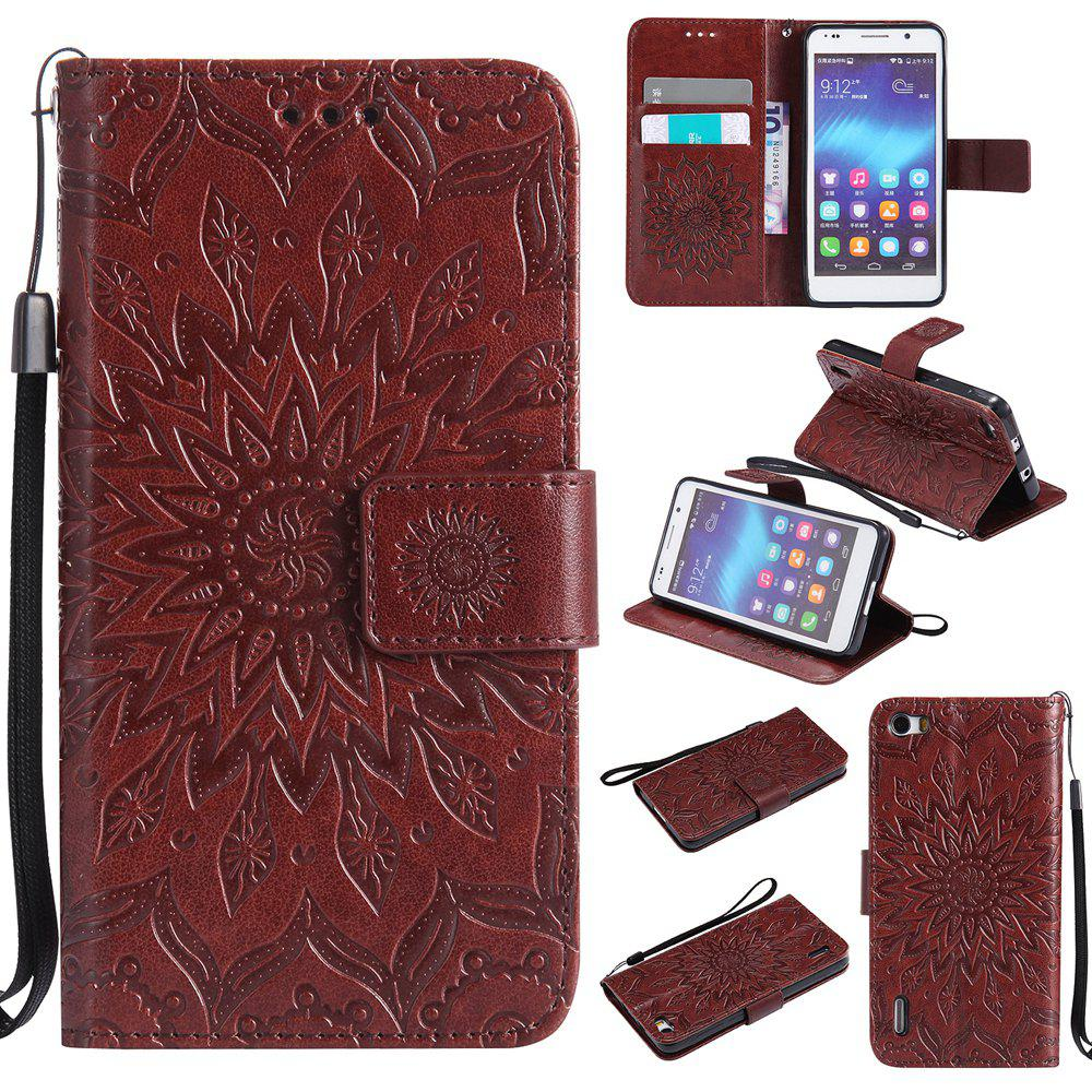 Sun Flower Printing Design Pu Leather Flip Wallet Lanyard Protective Case for Huawei Honor 6 - BROWN