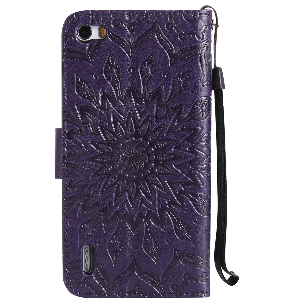 Sun Flower Printing Design Pu Leather Flip Wallet Lanyard Protective Case for Huawei Honor 6 - PURPLE
