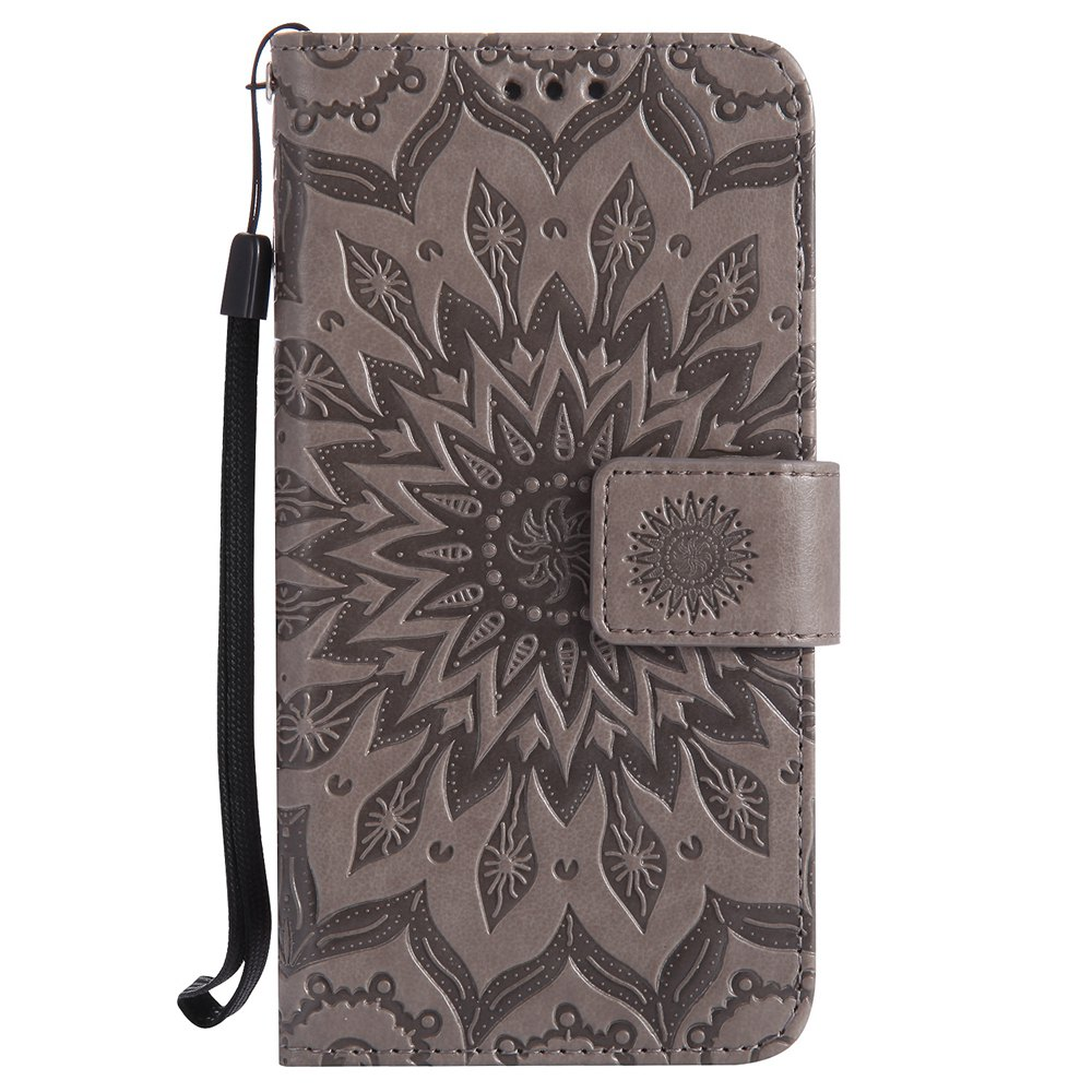 Sun Flower Printing Design Pu Leather Flip Wallet Lanyard Protective Case for Huawei Honor 6 - GRAY