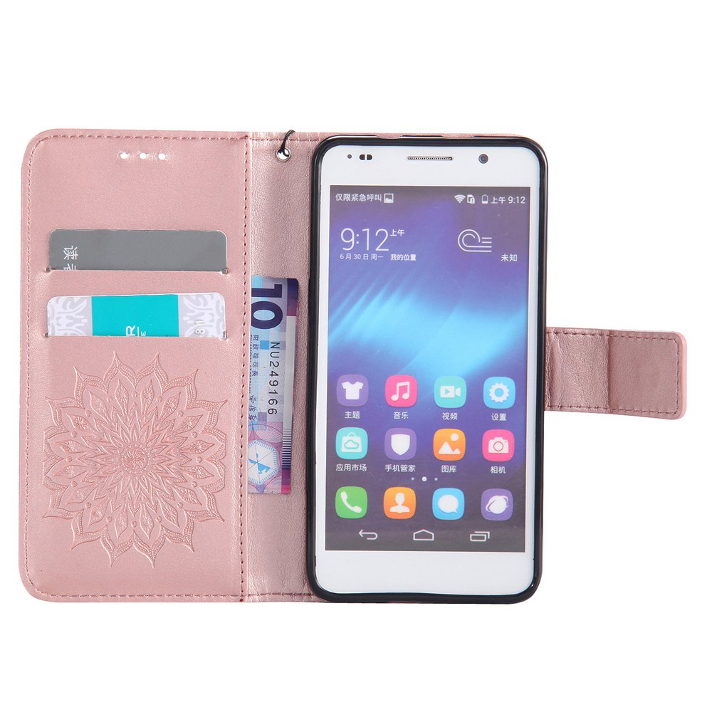 Sun Flower Printing Design Pu Leather Flip Wallet Lanyard Protective Case for Huawei Honor 6 - ROSE GOLD