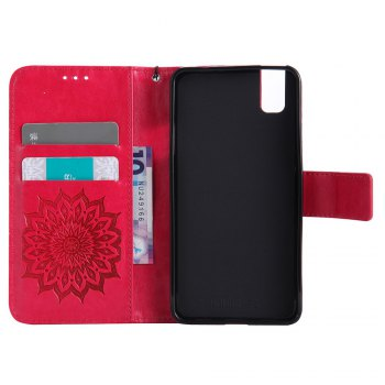 Sun Flower Printing Design Pu Leather Flip Wallet Lanyard Protective Case for Huawei Honor 7i - RED