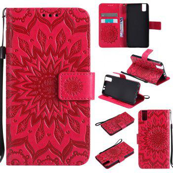 Sun Flower Printing Design Pu Leather Flip Wallet Lanyard Protective Case for Huawei Honor 7i - RED RED