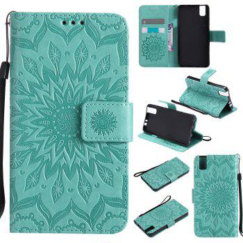 Sun Flower Printing Design Pu Leather Flip Wallet Lanyard Protective Case for Huawei Honor 7i - GREEN GREEN