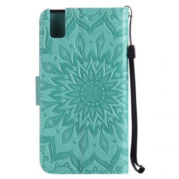 Sun Flower Printing Design Pu Leather Flip Wallet Lanyard Protective Case for Huawei Honor 7i -  GREEN