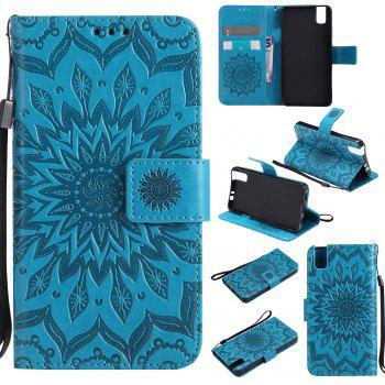 Sun Flower Printing Design Pu Leather Flip Wallet Lanyard Protective Case for Huawei Honor 7i - BLUE BLUE