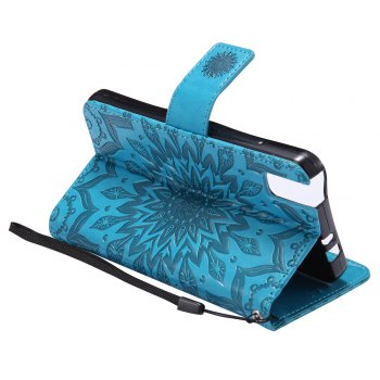 Sun Flower Printing Design Pu Leather Flip Wallet Lanyard Protective Case for Huawei Honor 7i -  BLUE