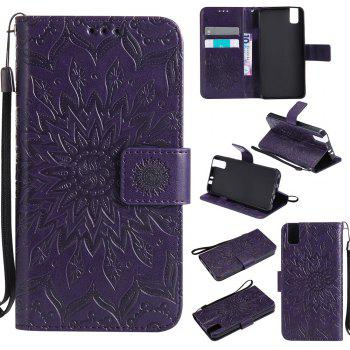 Sun Flower Printing Design Pu Leather Flip Wallet Lanyard Protective Case for Huawei Honor 7i - PURPLE PURPLE