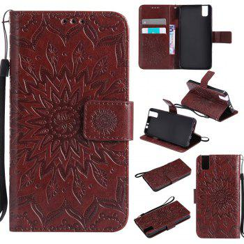 Sun Flower Printing Design Pu Leather Flip Wallet Lanyard Protective Case for Huawei Honor 7i - BROWN BROWN