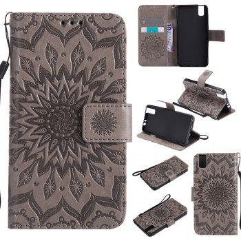 Sun Flower Printing Design Pu Leather Flip Wallet Lanyard Protective Case for Huawei Honor 7i - GRAY GRAY