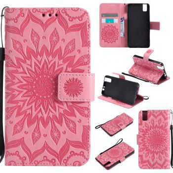 Sun Flower Printing Design Pu Leather Flip Wallet Lanyard Protective Case for Huawei Honor 7i - PINK PINK