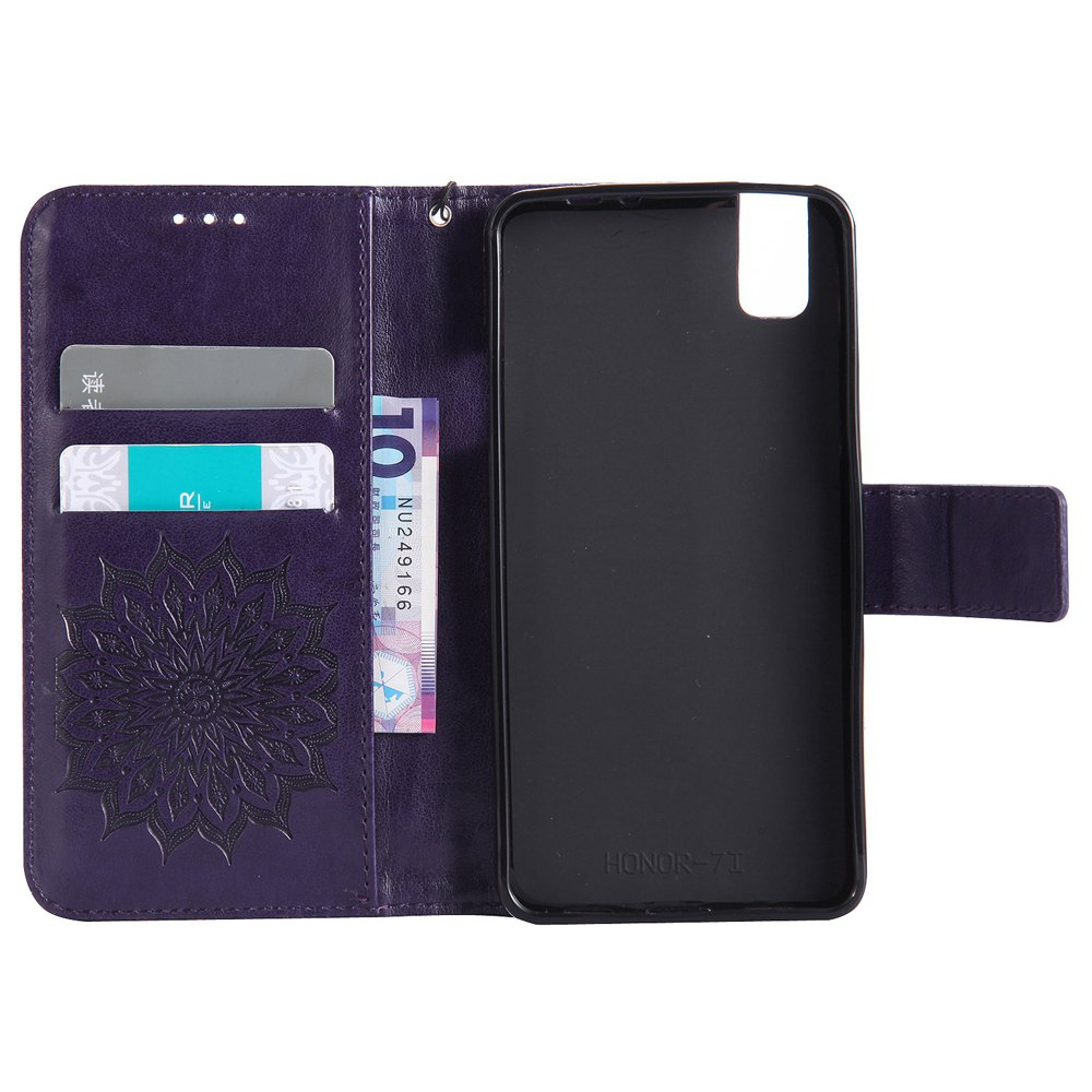 Sun Flower Printing Design Pu Leather Flip Wallet Lanyard Protective Case for Huawei Honor 7i - PURPLE