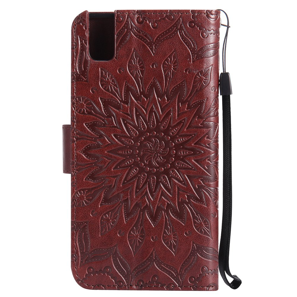 Sun Flower Printing Design Pu Leather Flip Wallet Lanyard Protective Case for Huawei Honor 7i - BROWN