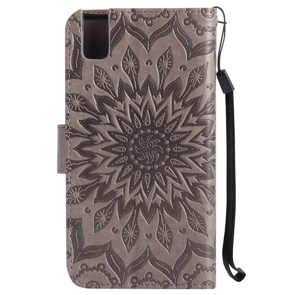 Sun Flower Printing Design Pu Leather Flip Wallet Lanyard Protective Case for Huawei Honor 7i - GRAY