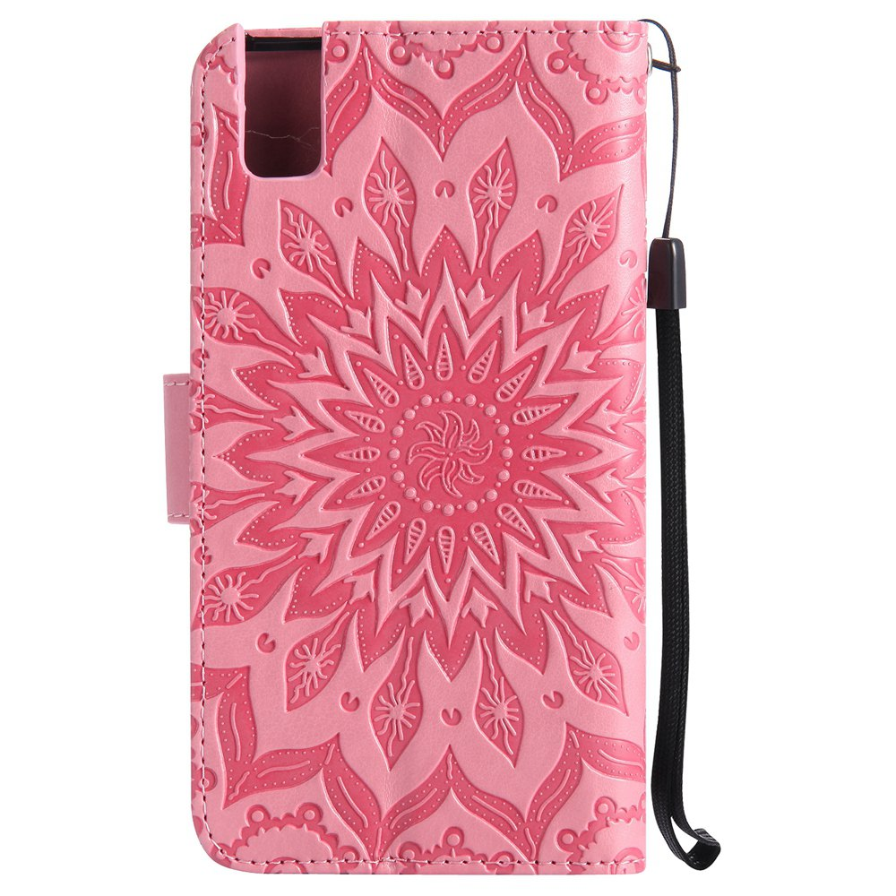 Sun Flower Printing Design Pu Leather Flip Wallet Lanyard Protective Case for Huawei Honor 7i - PINK