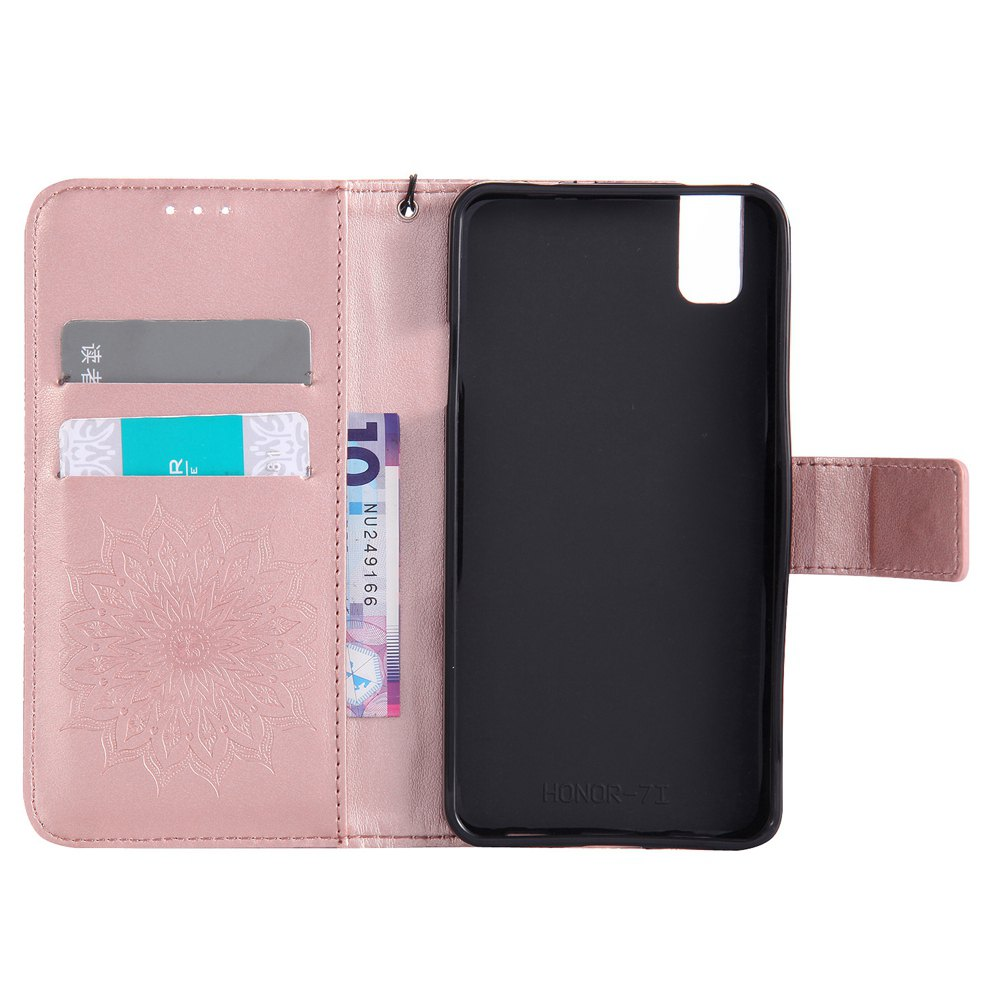 Sun Flower Printing Design Pu Leather Flip Wallet Lanyard Protective Case for Huawei Honor 7i - ROSE GOLD