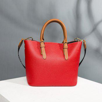 Women's Handbag Solid Color All-match Large Capacity Top Fashion Bag - RED HORIZONTAL