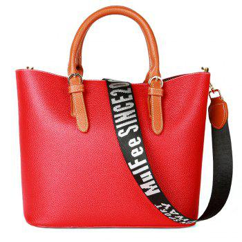Women's Handbag Solid Color All-match Large Capacity Top Fashion Bag - RED RED