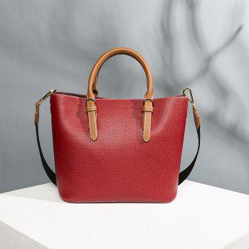 Women's Handbag Solid Color All-match Large Capacity Top Fashion Bag - WATERMELON RED HORIZONTAL