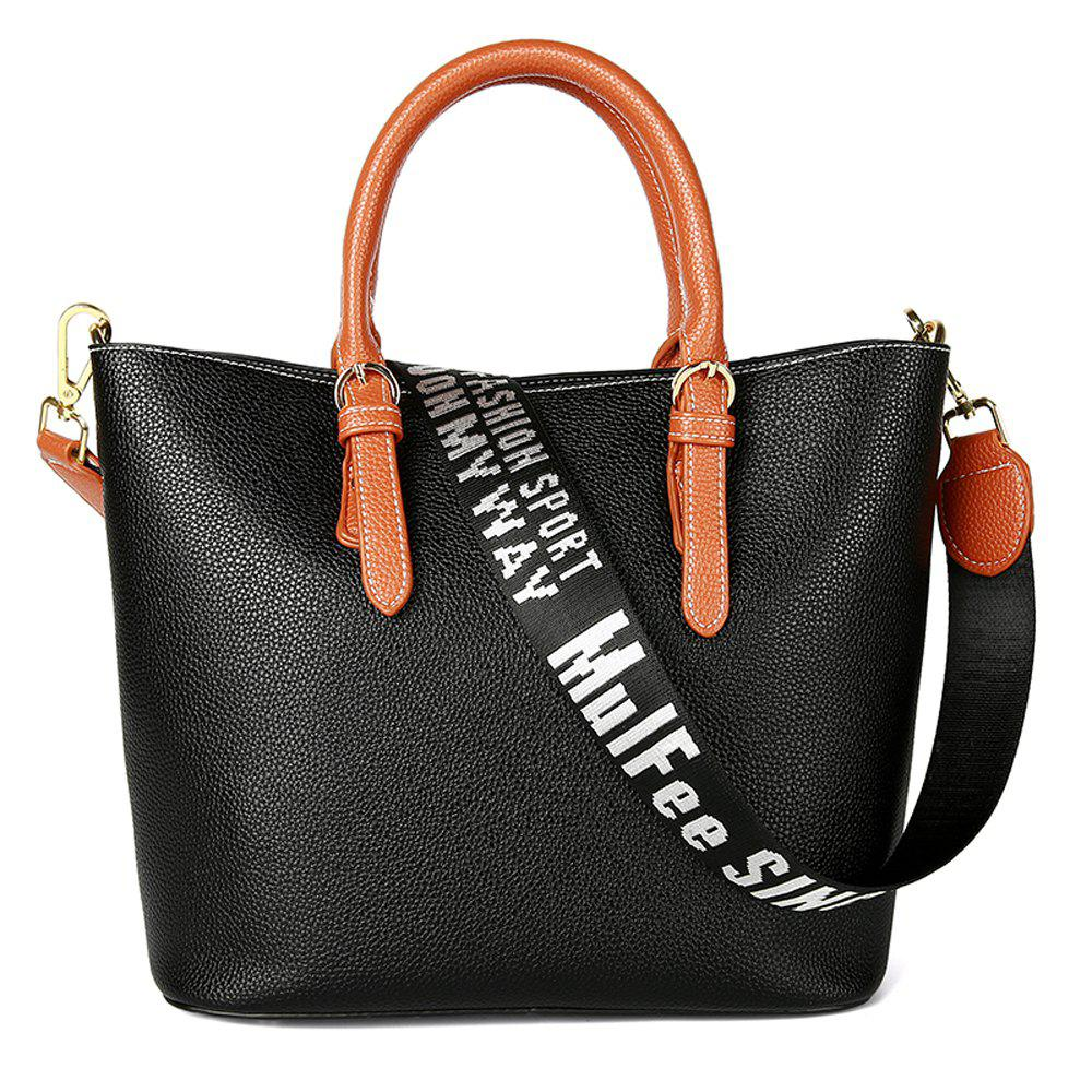 Women's Handbag Solid Color All-match Large Capacity Top Fashion Bag - BLACK HORIZONTAL
