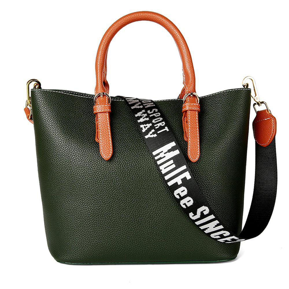 Women's Handbag Solid Color All-match Large Capacity Top Fashion Bag - GREEN HORIZONTAL