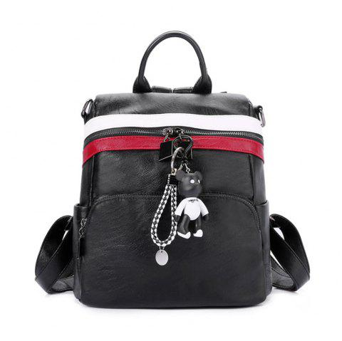 Women's Backpack All-match Chic Solid Color PU Leather Travel Bag - RED/WHITE HORIZONTAL
