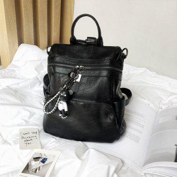 Women's Backpack All-match Chic Solid Color PU Leather Travel Bag - BLACK BLACK