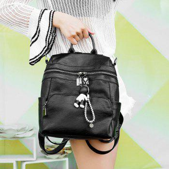 Women's Backpack All-match Chic Solid Color PU Leather Travel Bag - BLACK HORIZONTAL