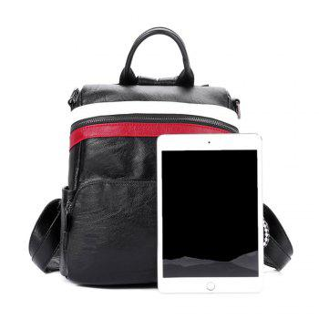 Women's Backpack All-match Chic Solid Color PU Leather Travel Bag - RED/WHITE RED/WHITE