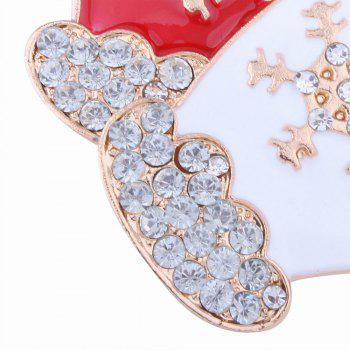 Fashion Design Red and White Gloves Snowflakes Brooch with Diamond Christmas Jewelry - RED/WHITE