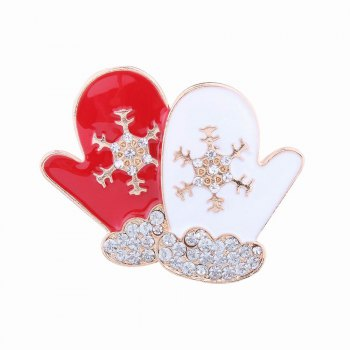 Fashion Design Red and White Gloves Snowflakes Brooch with Diamond Christmas Jewelry - RED AND WHITE RED/WHITE