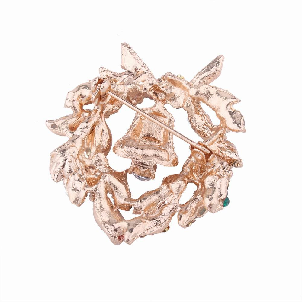 Fashion Design Christmas Bells Wreath Brooch with Diamond Charm Jewelry - multicolorCOLOR