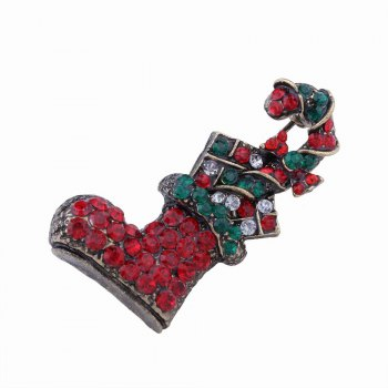 Fashion Design Multicolor Christmas Socks Brooch with Diamond Charm Jewelry - multicolorCOLOR